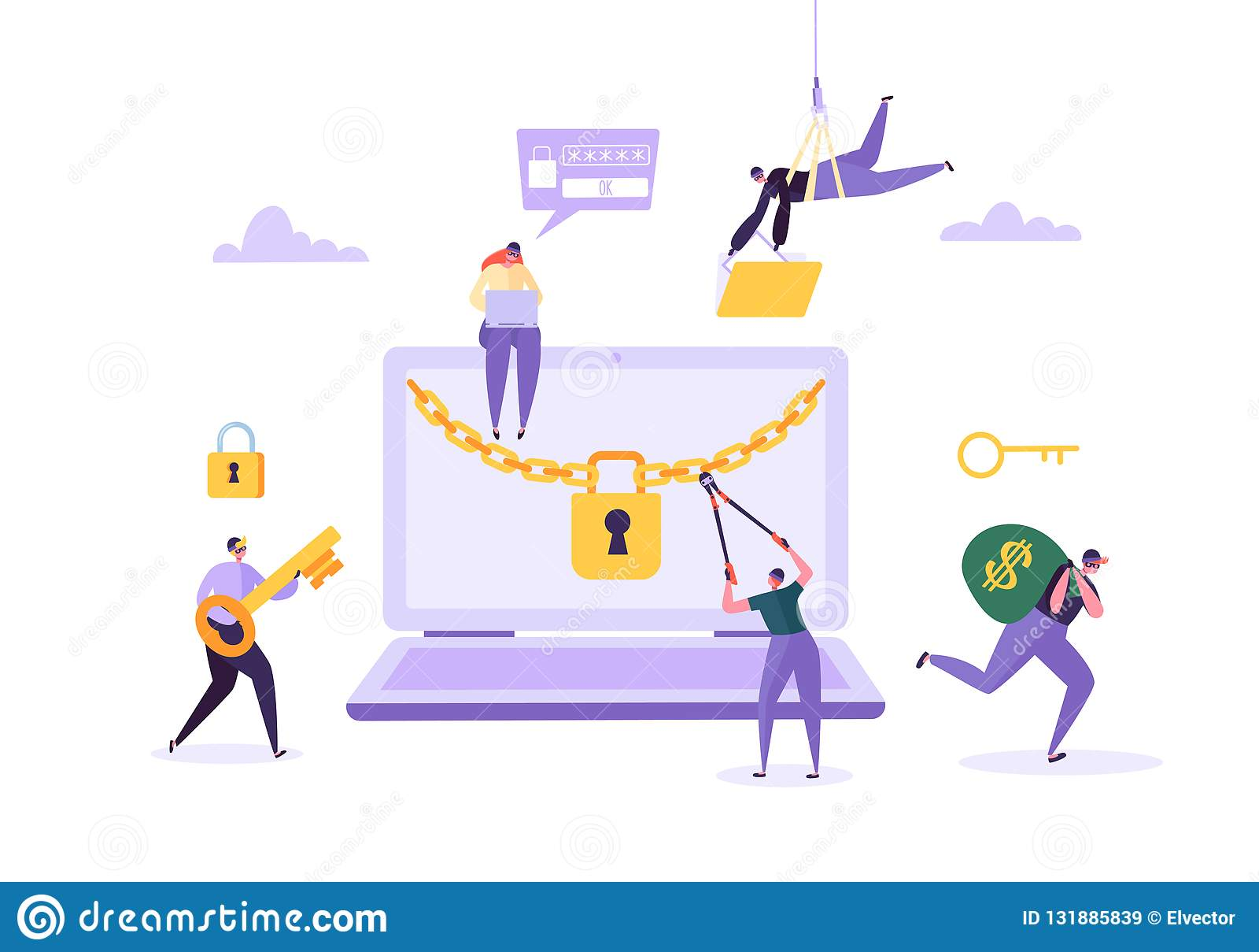 Pirata informático que roba contraseña y el dinero del ordenador portátil Ladrón Characters Hacking Computer Ataque de la pesca,