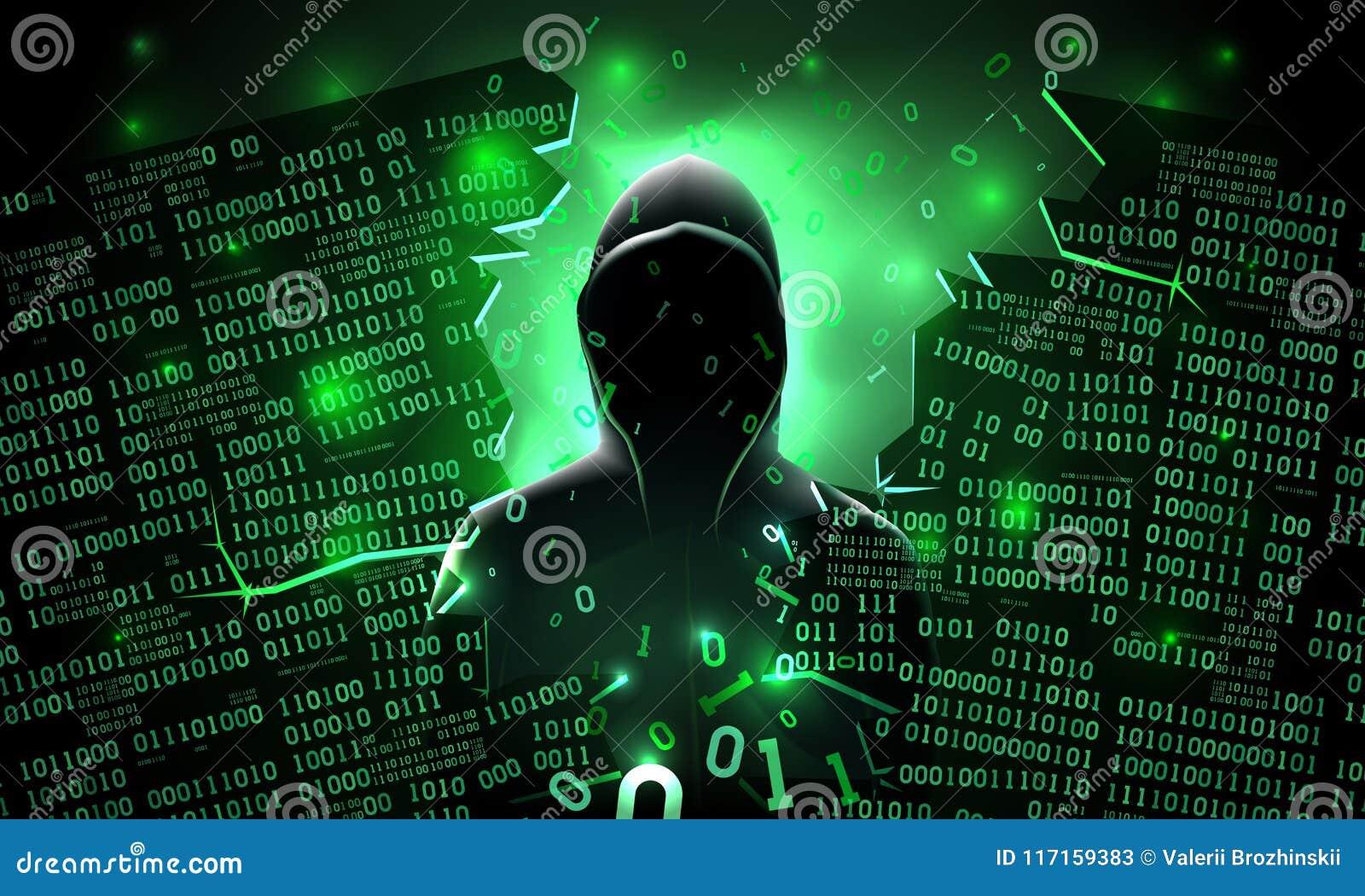 Pirata informático que usa el servidor abstracto cortado Internet del ordenador, base de datos, almacenamiento de la red, cortafu