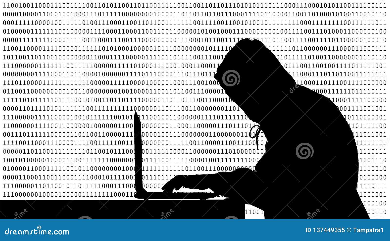 Pirata informatico che scrive su un computer portatile con 01 o sui numeri binari sullo schermo di computer sulla matrice del fon