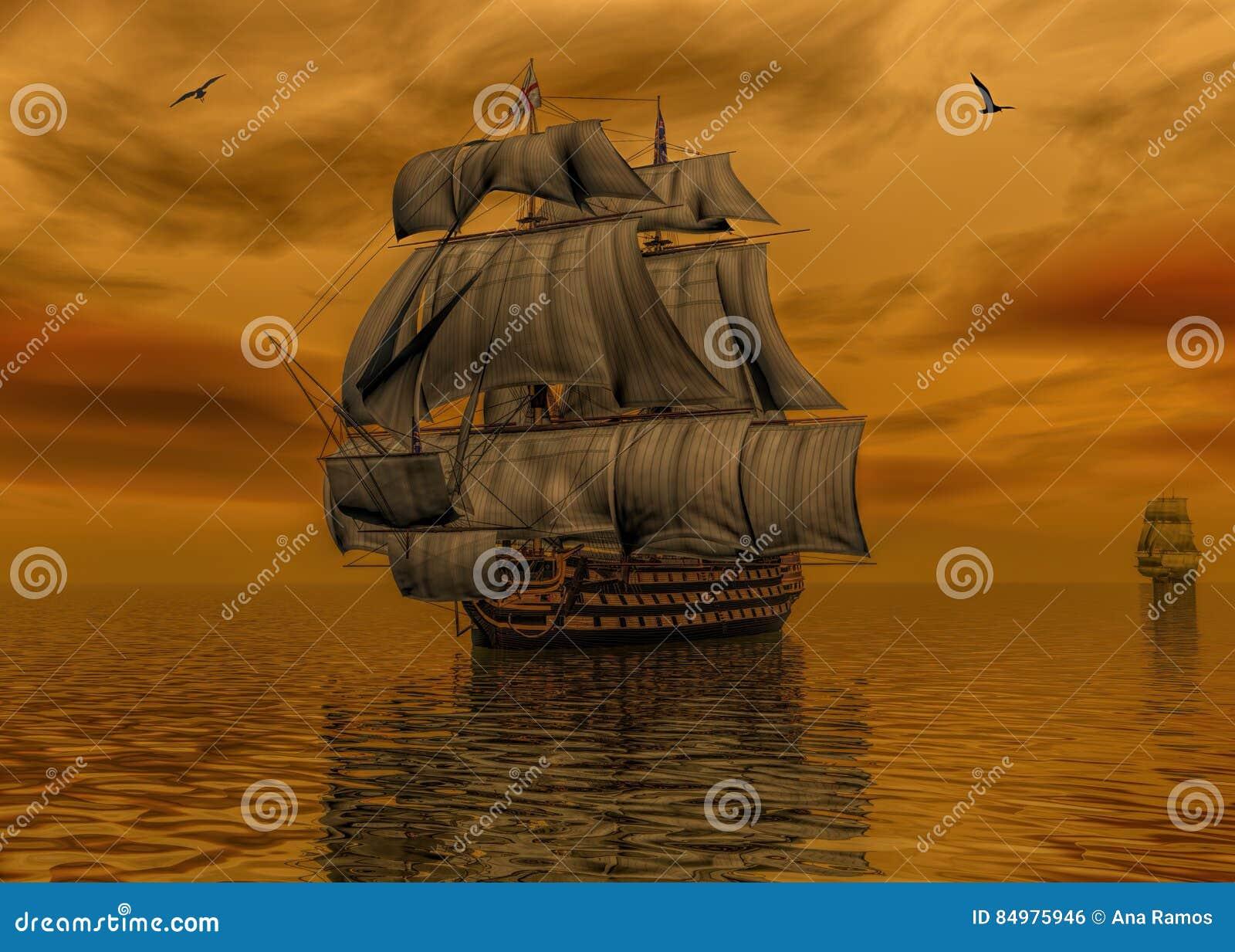 Pirata statek na spokój wody 3d renderingu