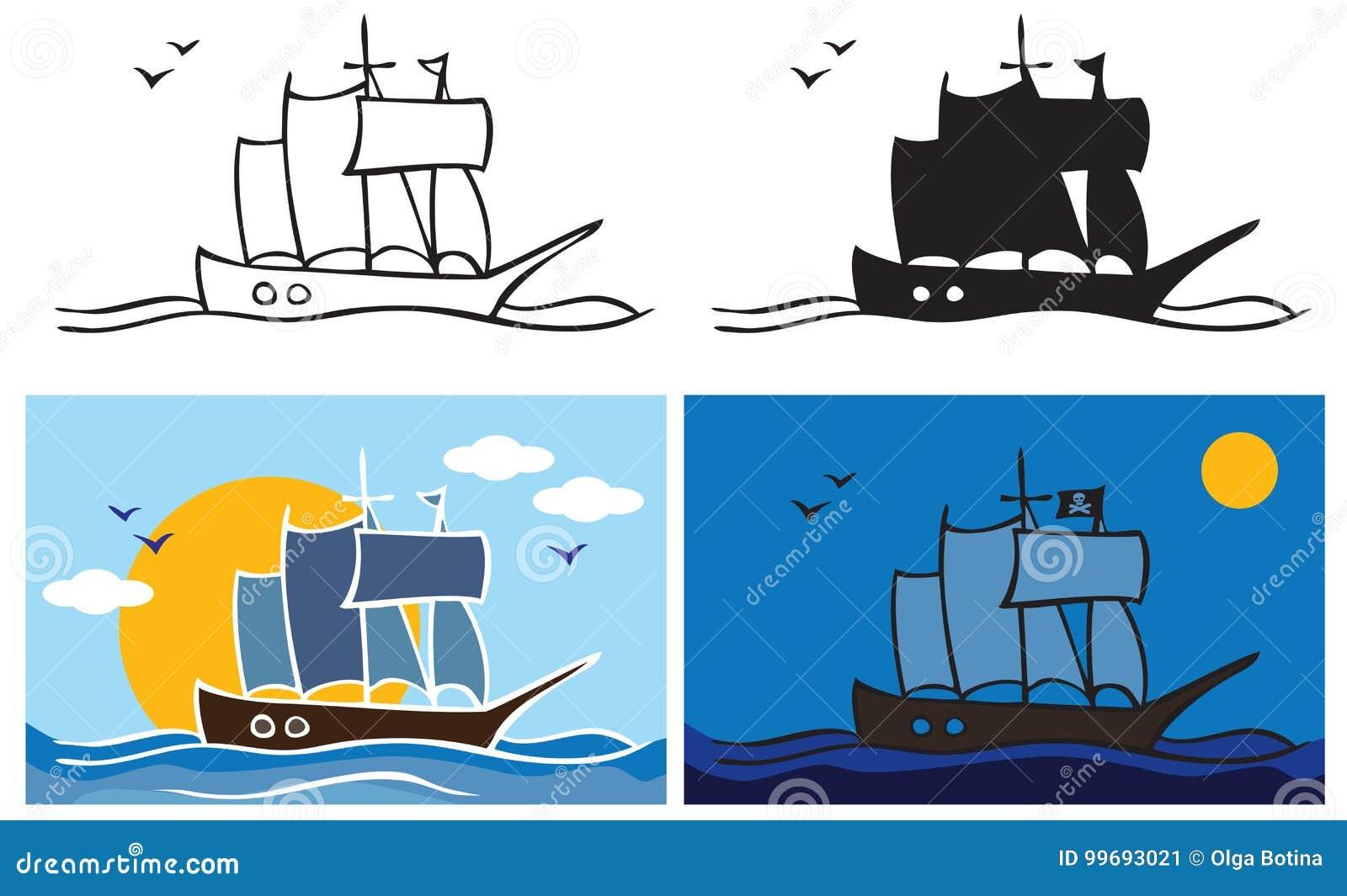 Pirata statek przy nocą