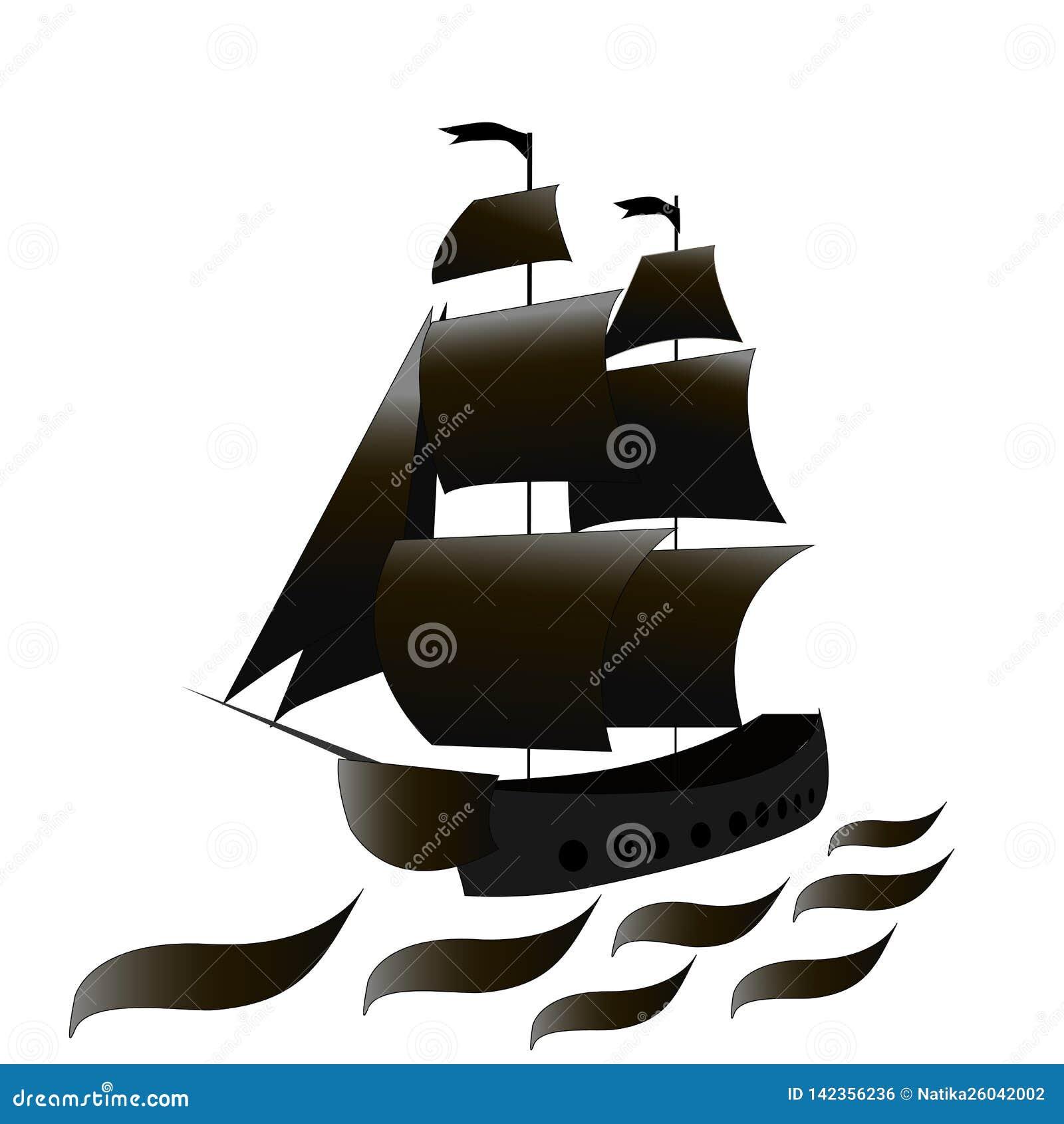 Pirata statek z czernią żegluje przy morzem również zwrócić corel ilustracji wektora