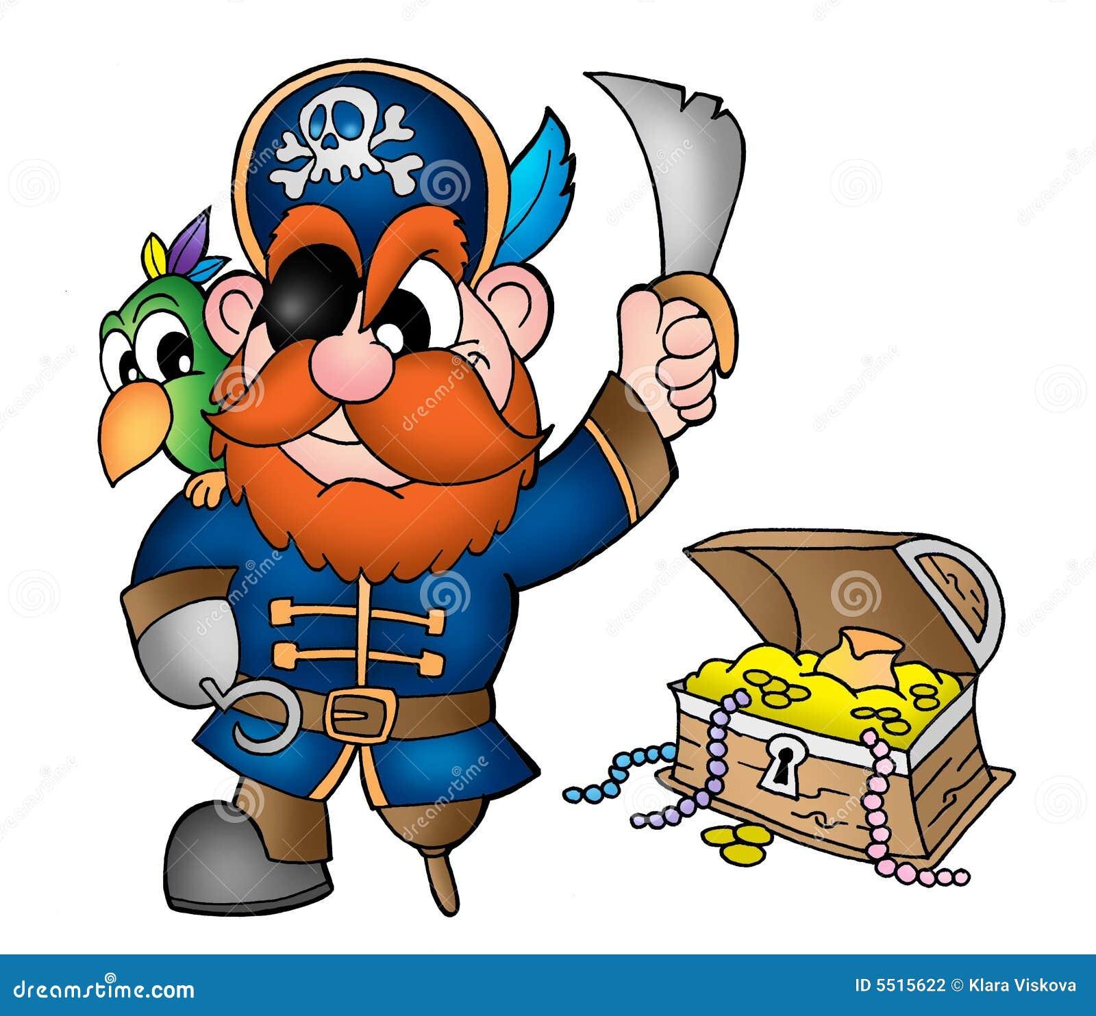 Pirate avec le coffre de tr sor illustration stock - Dessin de coffre de pirate ...