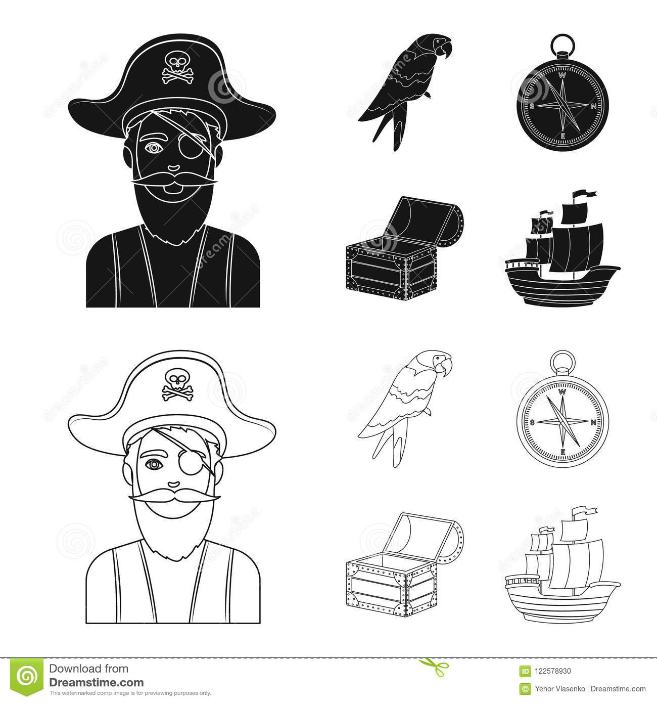 Pirate, bandit, hat, bandage .Pirates set collection icons in black,outline style vector symbol stock illustration web.