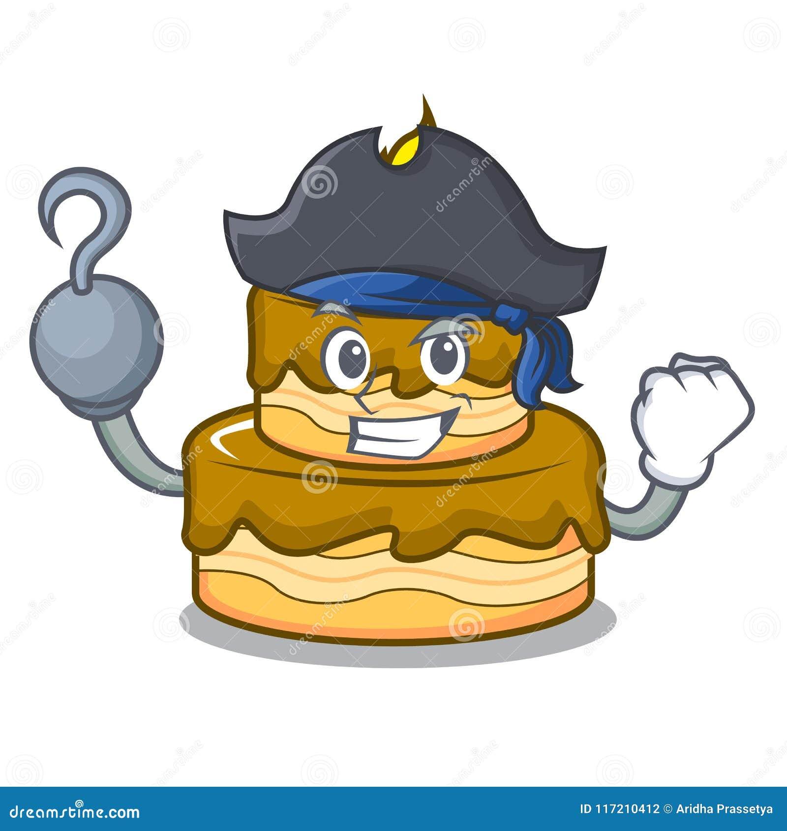 Enjoyable Pirate Birthday Cake Character Cartoon Stock Vector Illustration Birthday Cards Printable Inklcafe Filternl