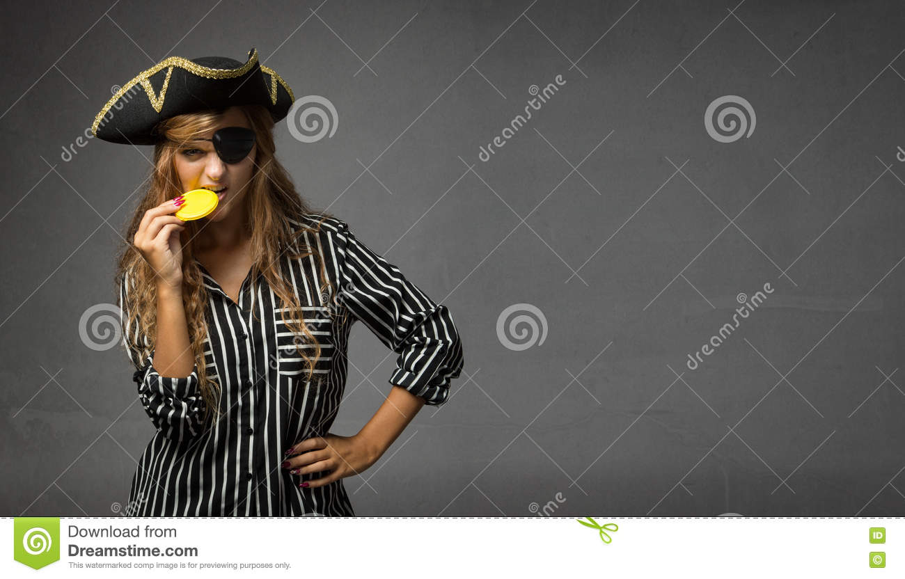 Pirate Biting Chocolate Gold Doubloon Stock Image - Image of girl