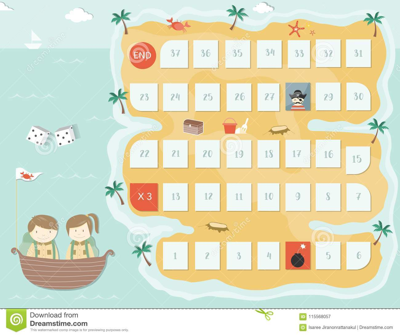 Pirate Board Game Templateboard Games Vector Illustrations Stock
