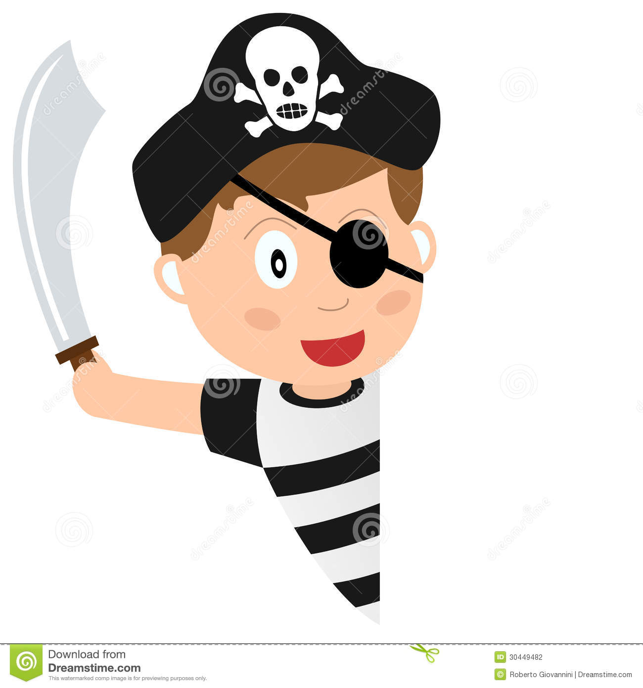 cartoon pirate boy with a blank banner, on white background. Eps ...
