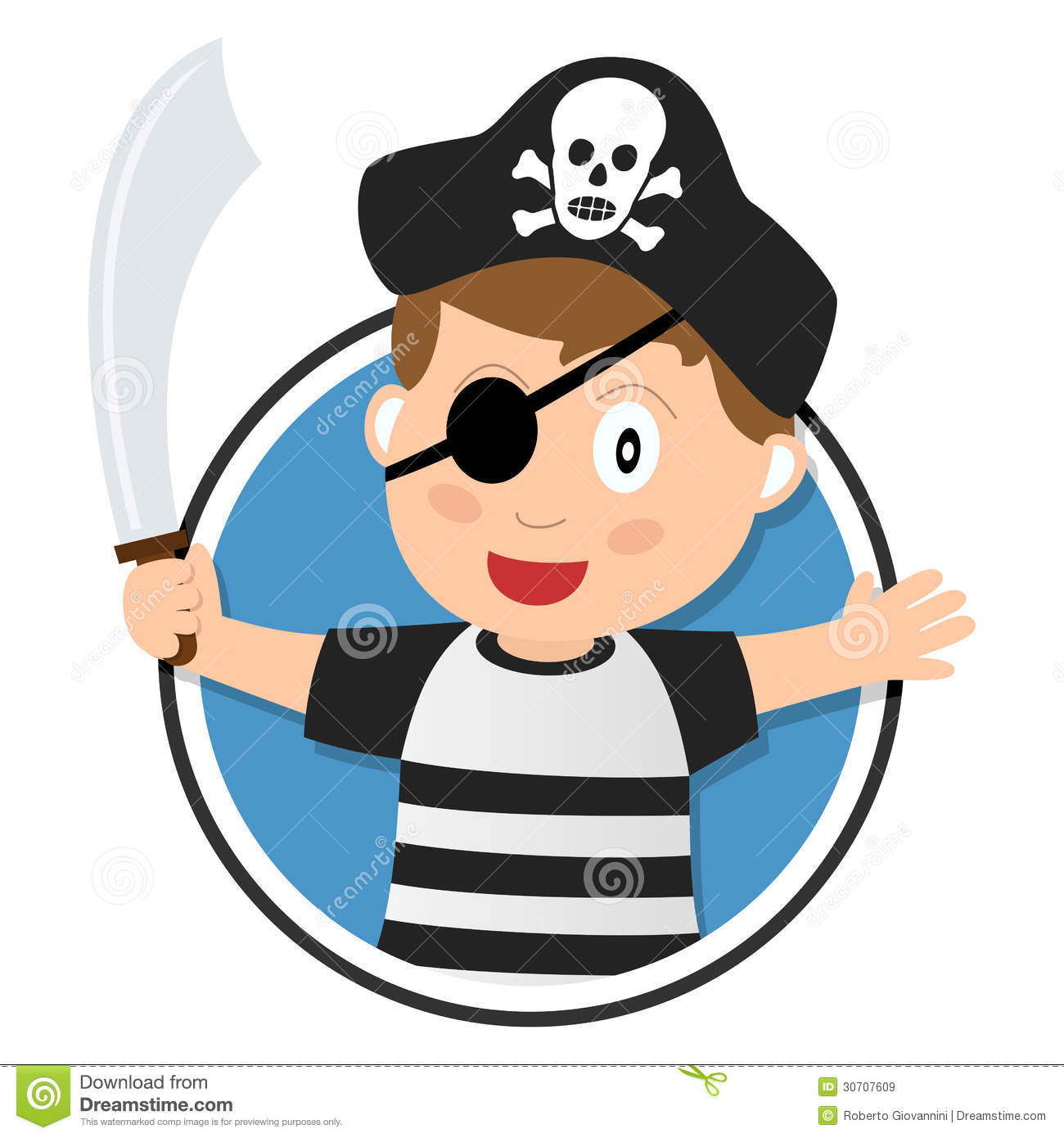Pirate Boy with Sabre Logo stock vector. Illustration of patch ... 60407638191b
