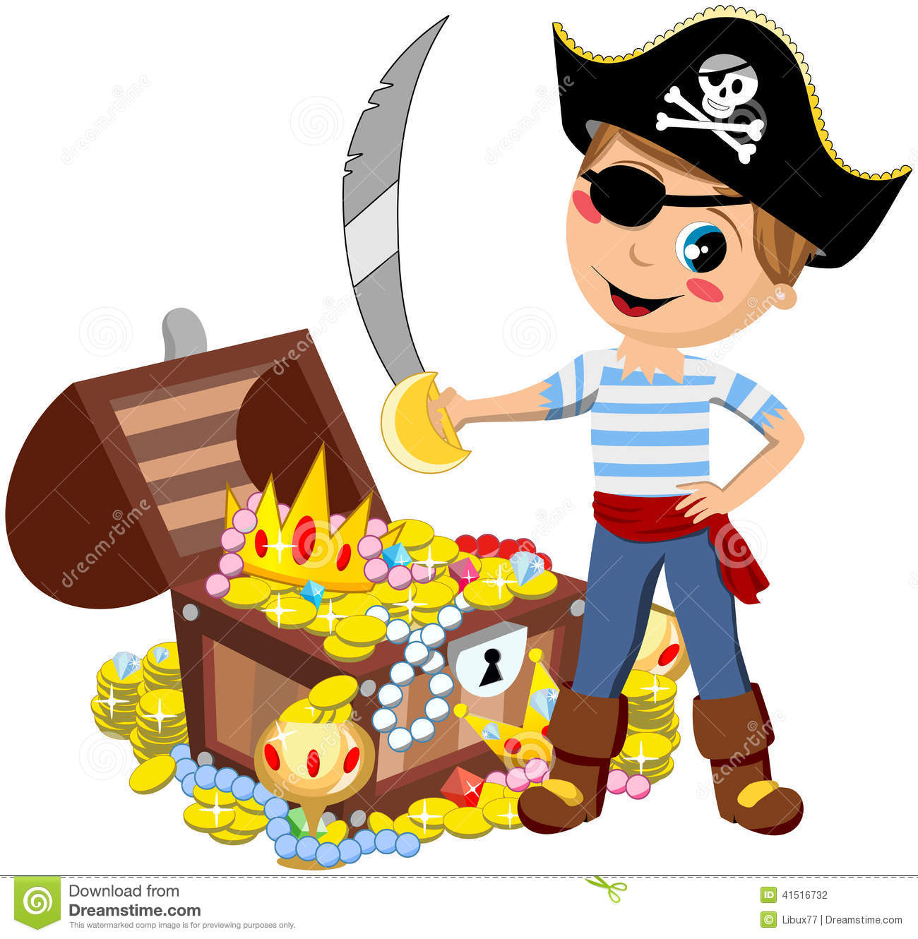 Pirate Boy Sword Treasure Chest Isolated Stock Vector ...