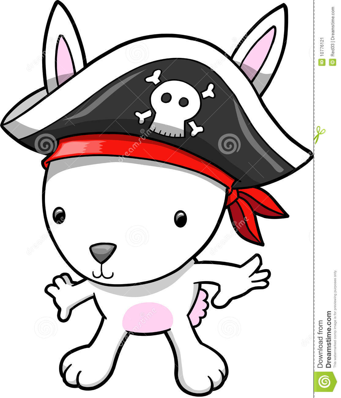 Pirate Bunny Vector Illustration Stock Image - Image: 10776121