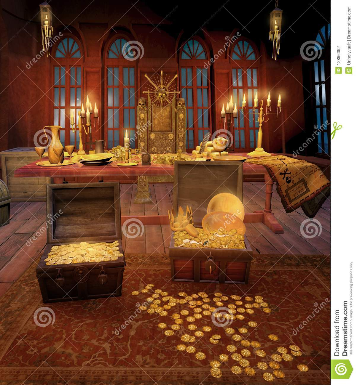 Pirate Cabin With Treasures Stock Illustration