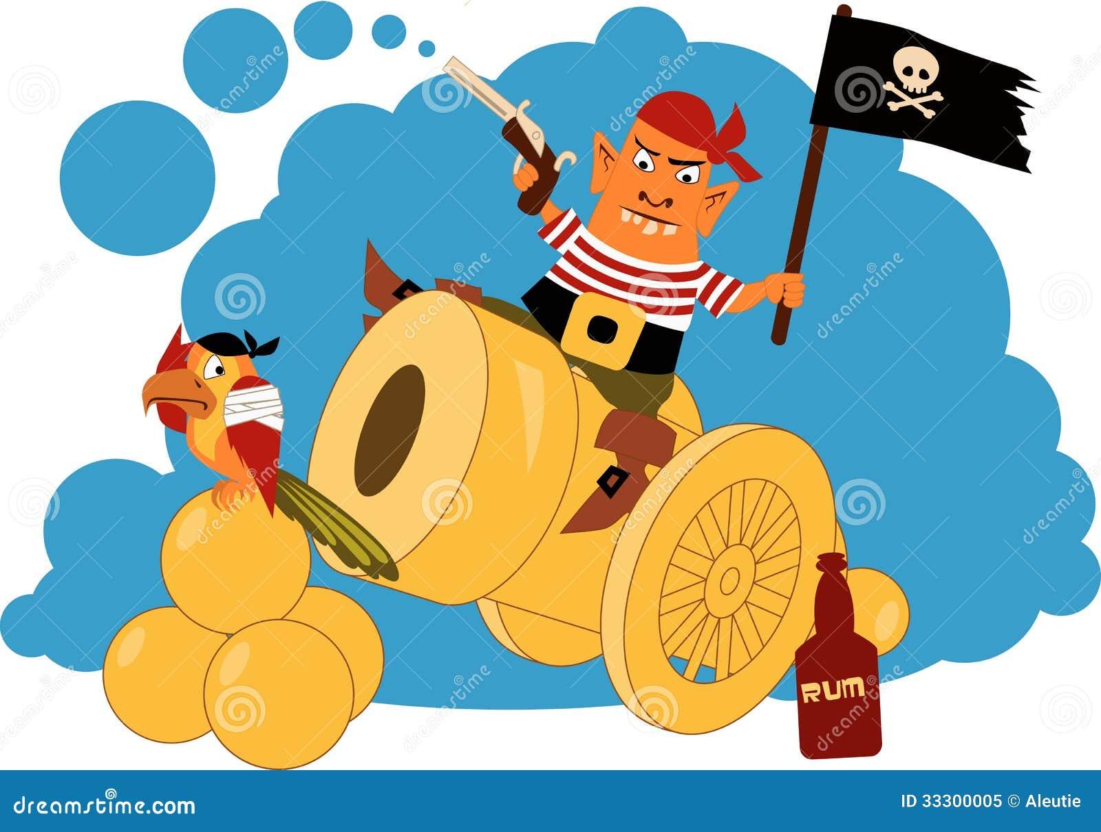 Cartoon pirate sitting on a cannon, firing a gun, waiving a flag ...