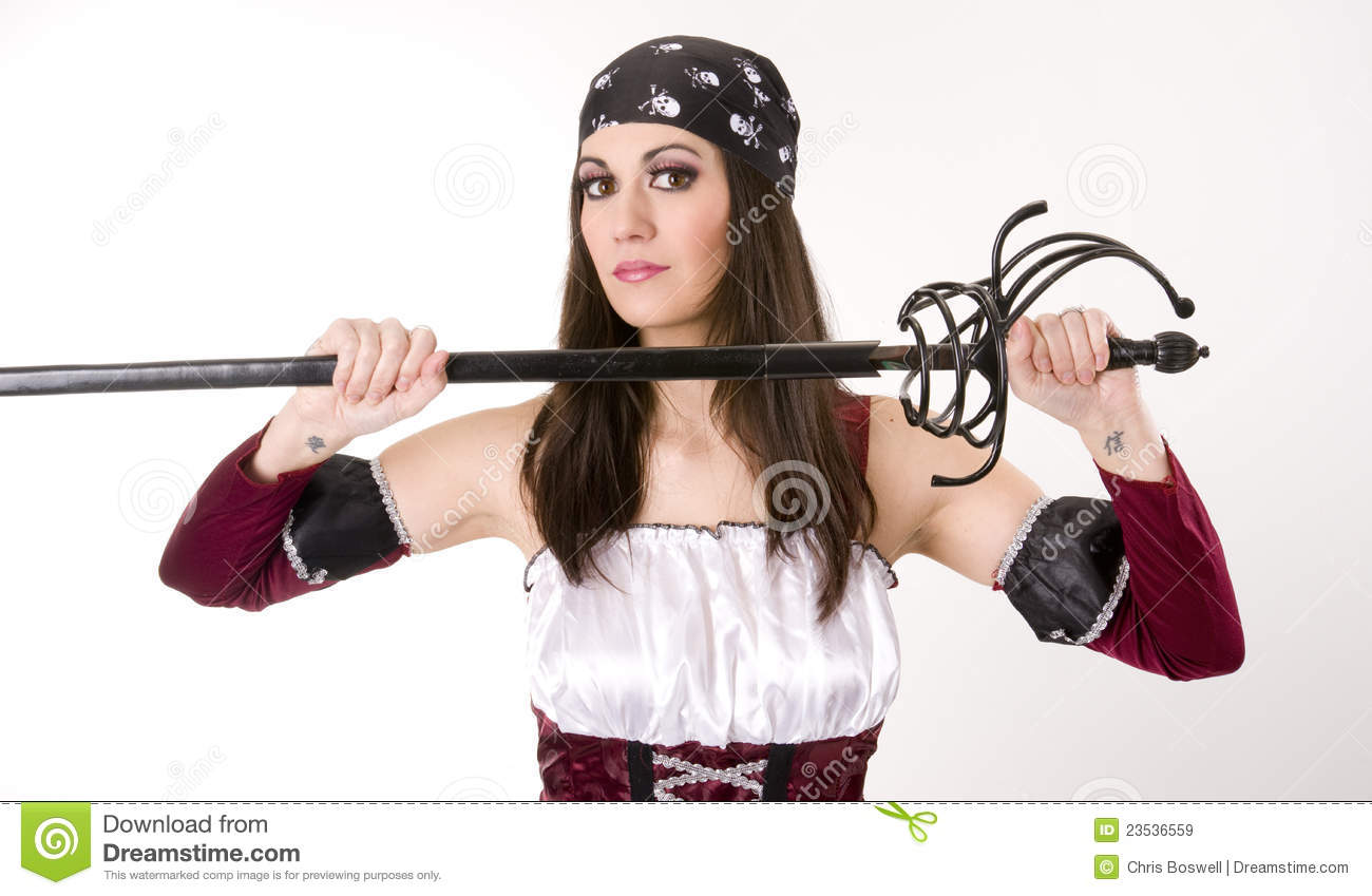 Female Pirate Captain Pulls Sword From Sheath