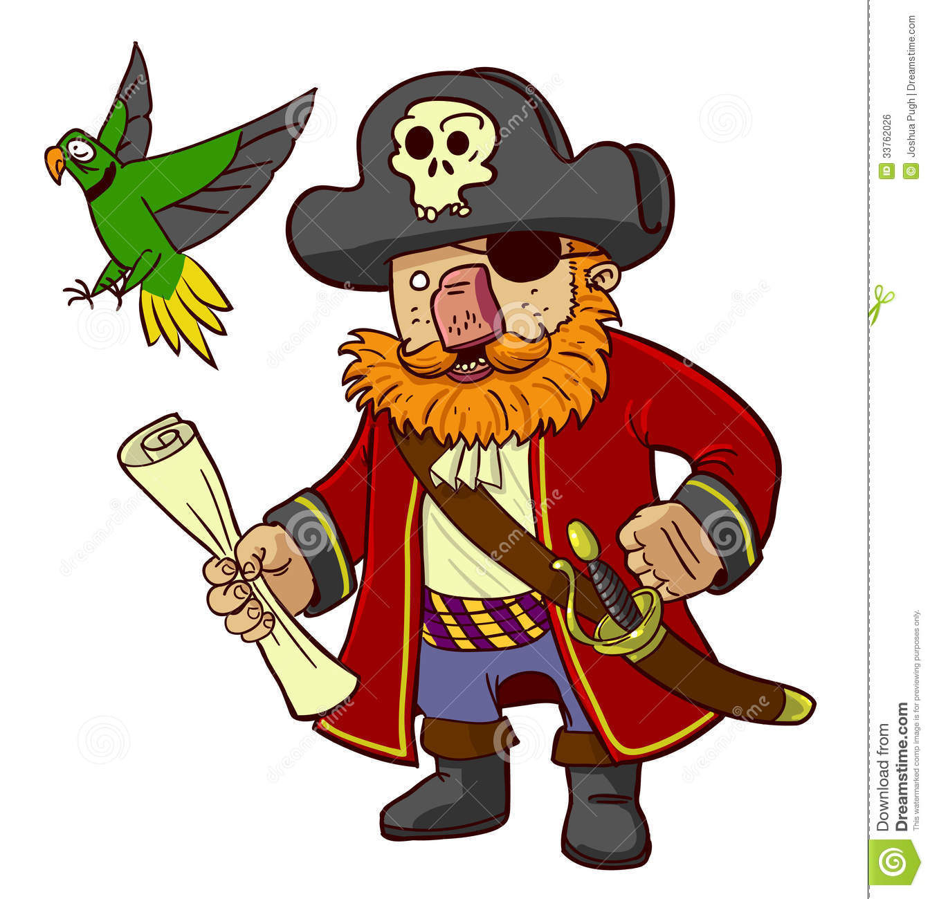 Pirate Captain And Parrot Royalty Free Stock Image - Image: 33762026