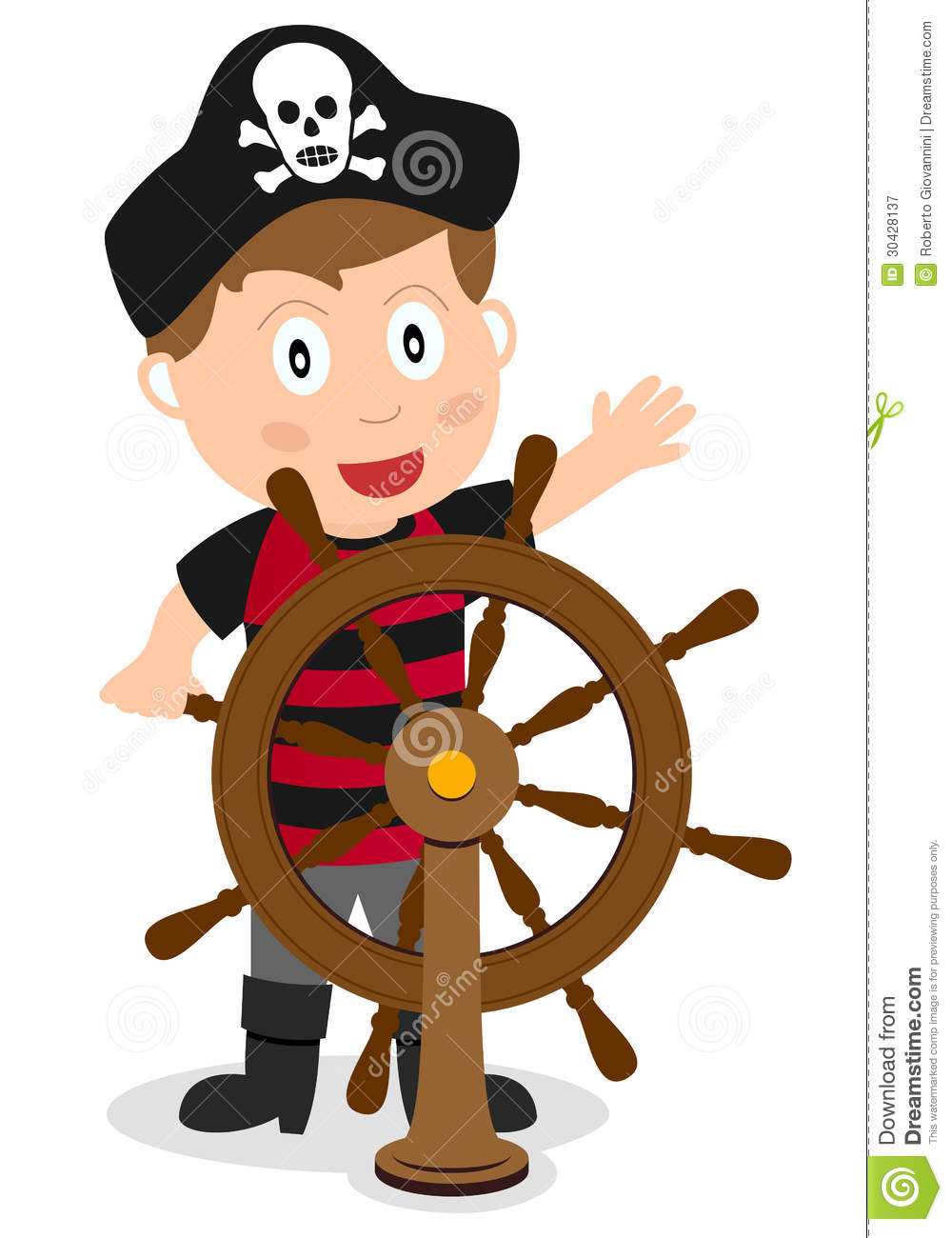 cartoon pirate captain boy at the rudder of a ship, isolated on ...