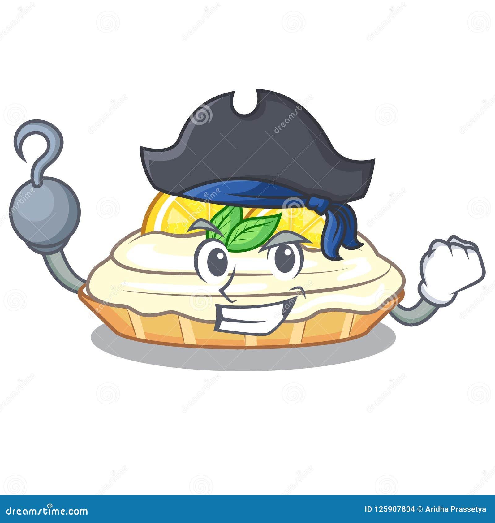 Pirate Cartoon Lemon Cake With Sugar Powder Stock Vector