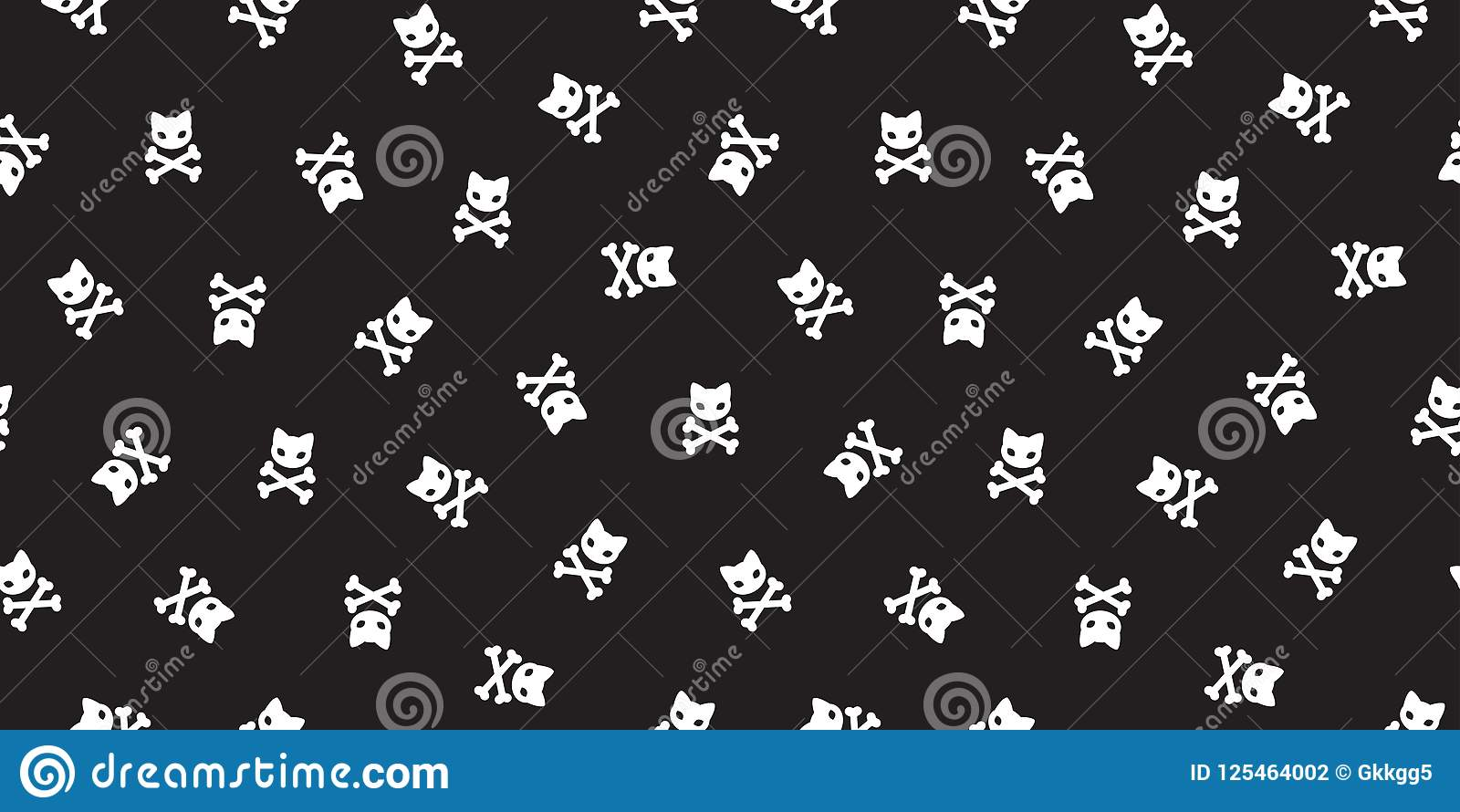 Pirate Crossbones Seamless Pattern Cat Kitten Halloween Pirate Black Wallpaper Background