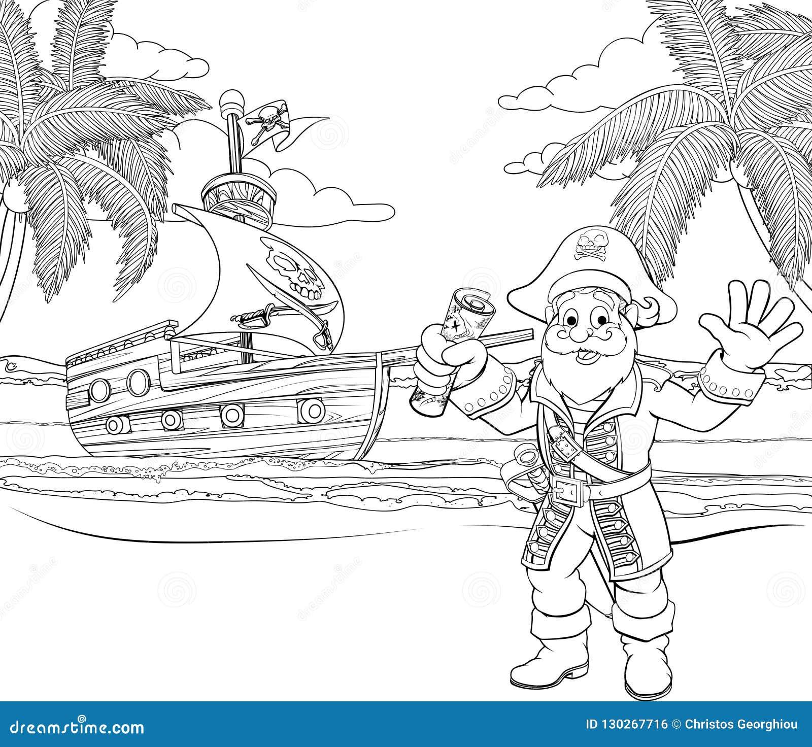 Pirate de bande dessinée à la page de coloration de plage