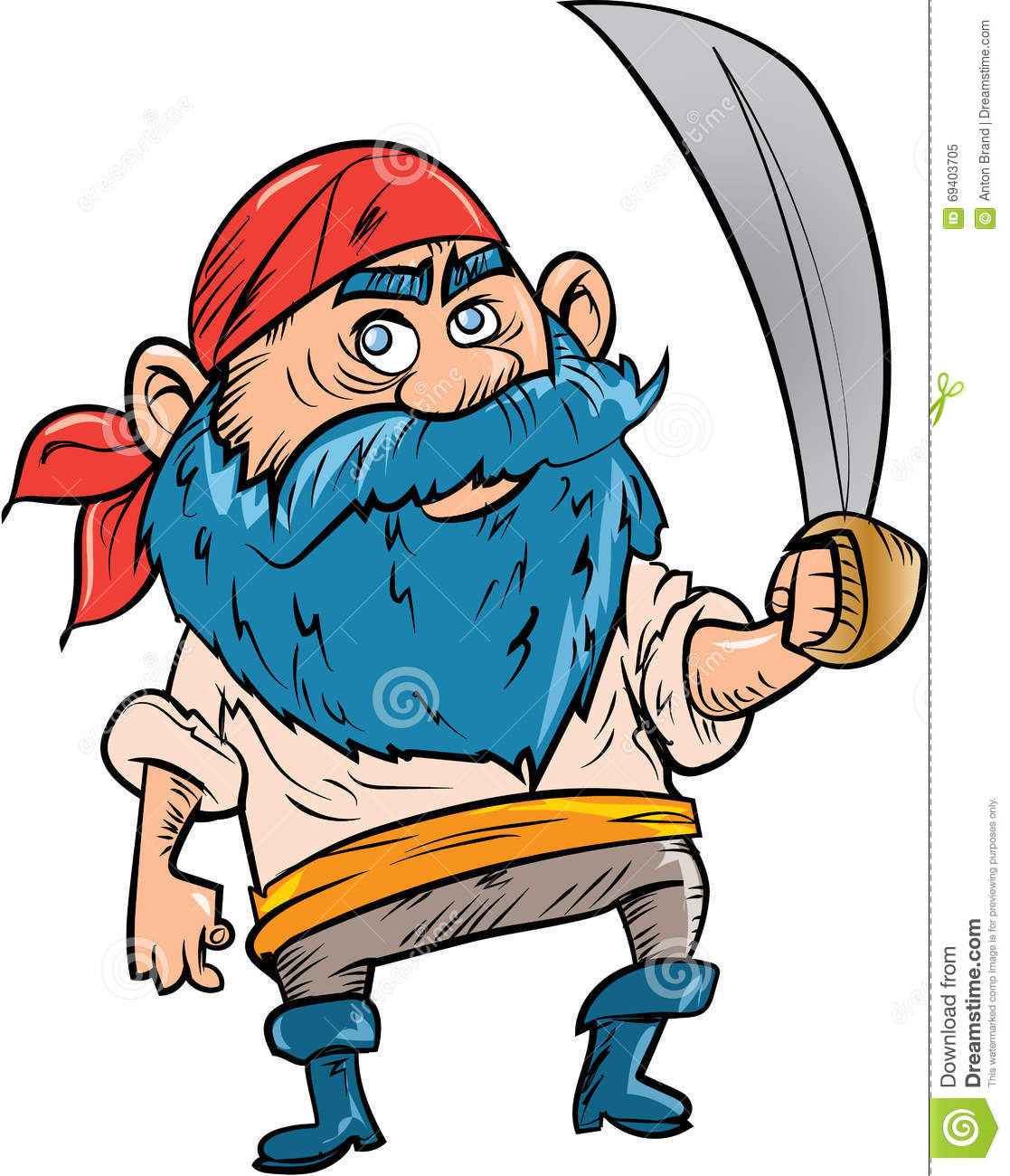 Pirate De Bande Dessin 233 E Avec La Barbe Bleue Illustration