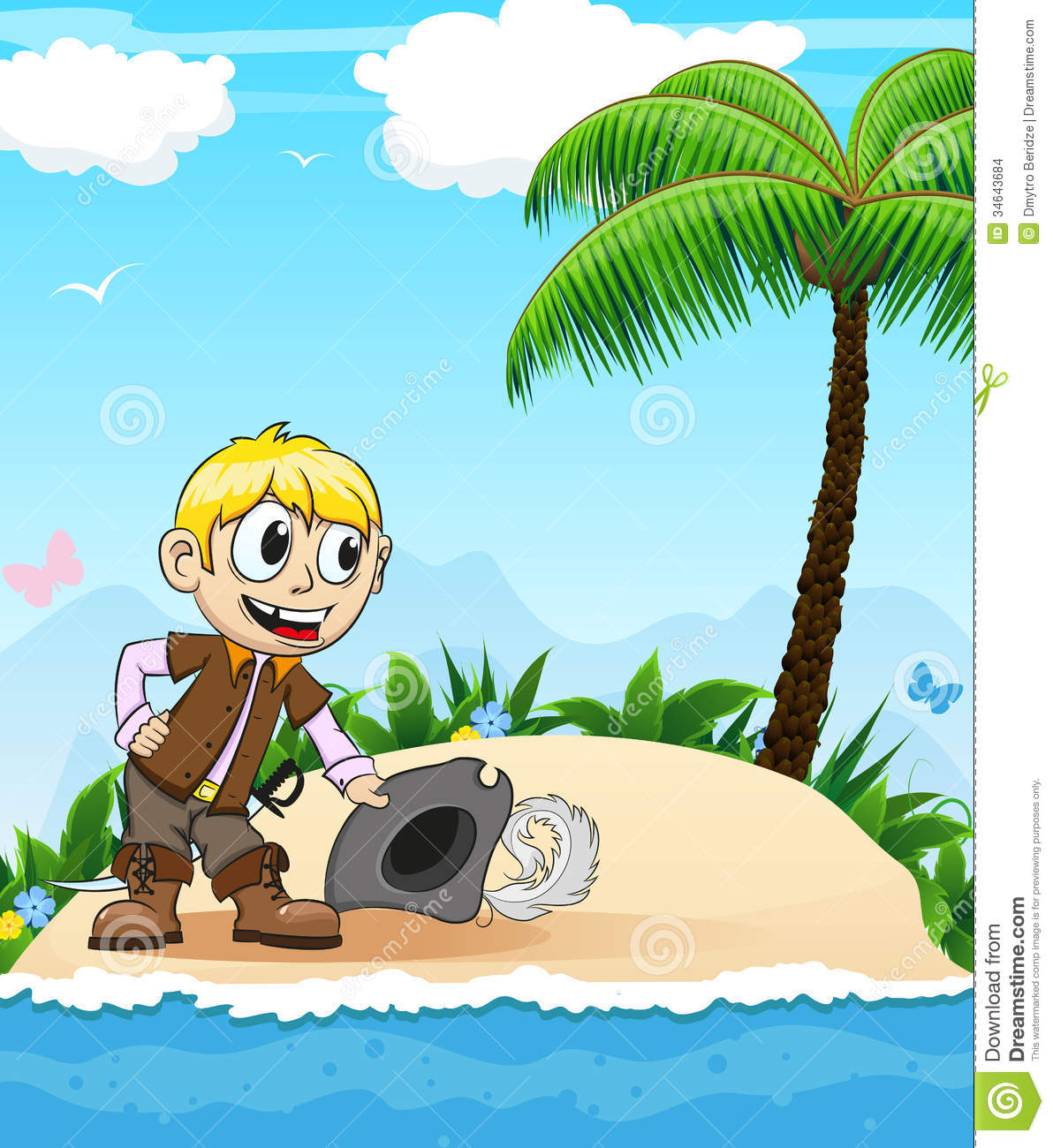 Pirate on a desert island stock vector illustration of character pirate on a desert island stopboris Images