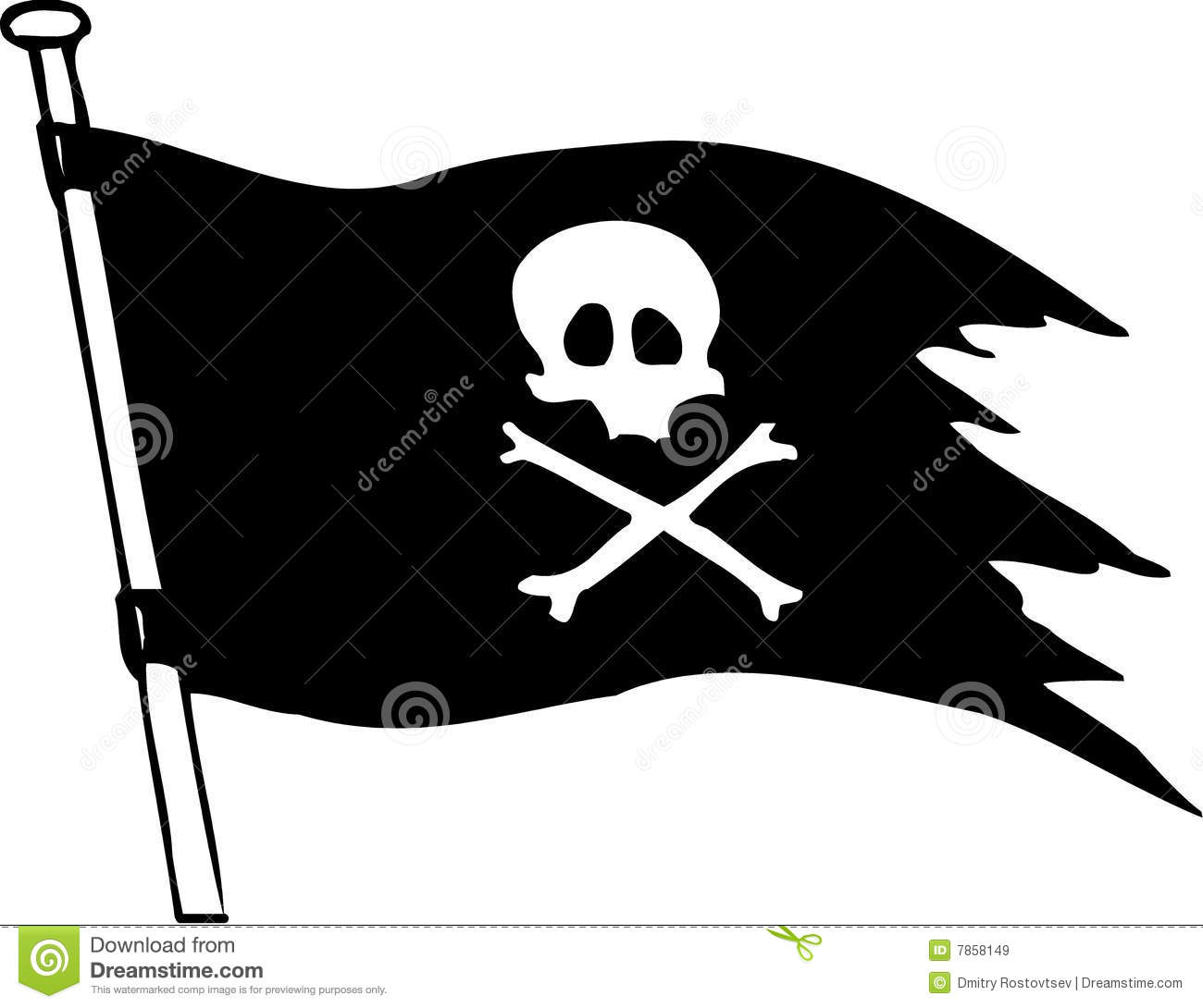 pirate flag stock vector illustration of clipart flagpole 7858149