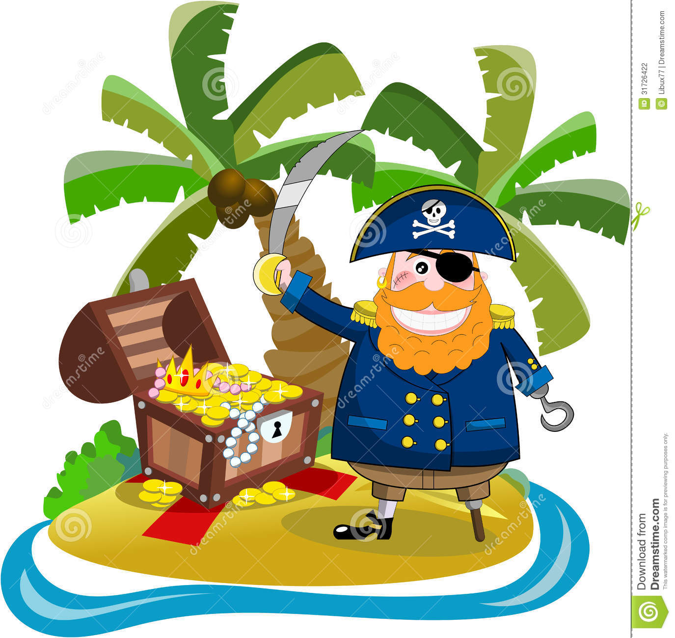 Pirate gold coins clipart