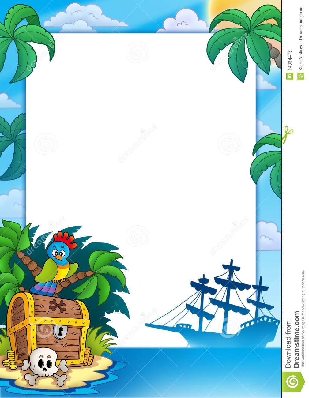 pirate frame with treasure island royalty free stock image free pirate treasure chest clipart Pirate Chest Clip Art