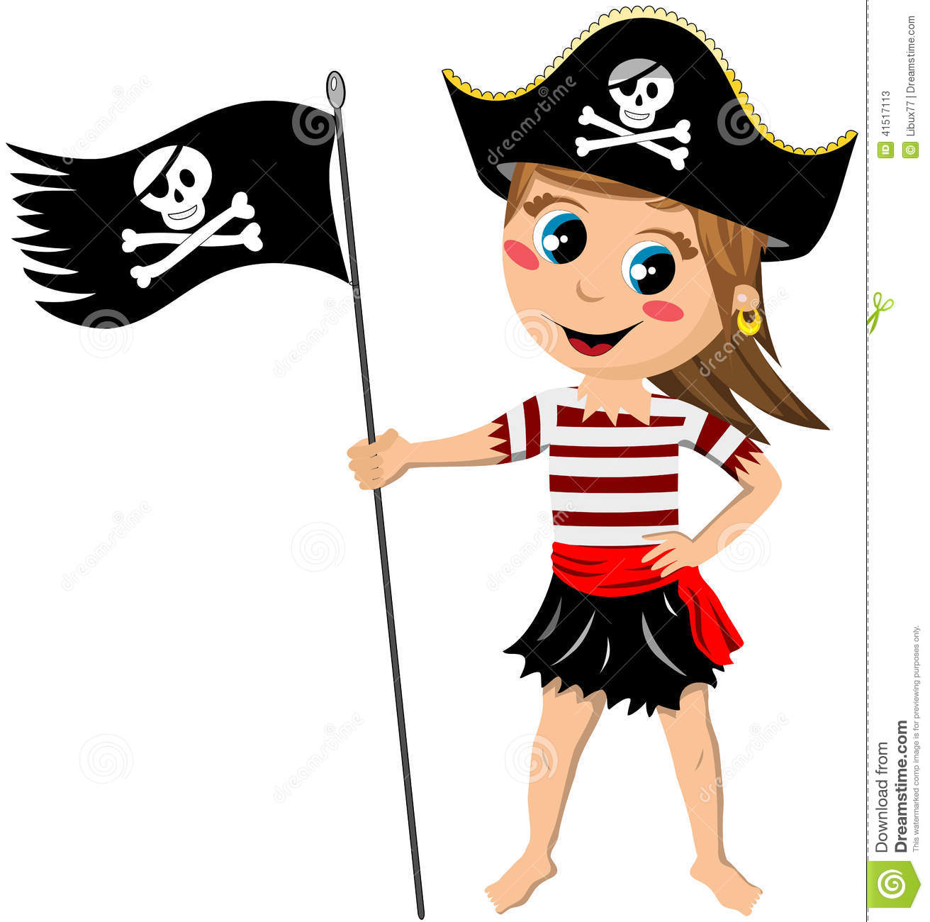 Pirate Girl Jolly Roger Flag Isolated Stock Vector - Image: 41517113