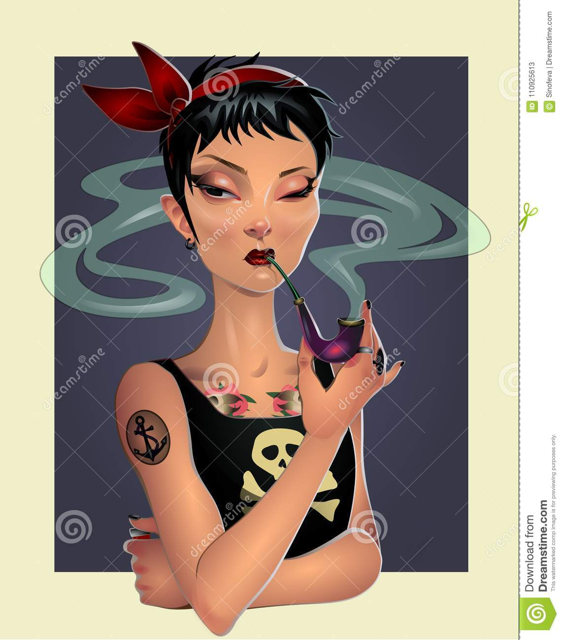 pirate girl with pipe stock illustration illustration of smoking