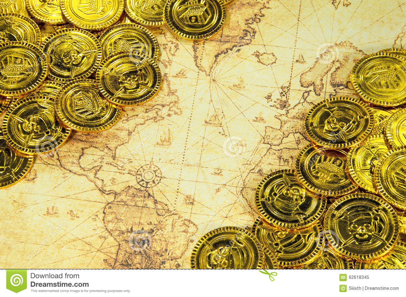 Pirate World Map.Pirate Golden Coin On A Old World Map Stock Image Image Of Brass