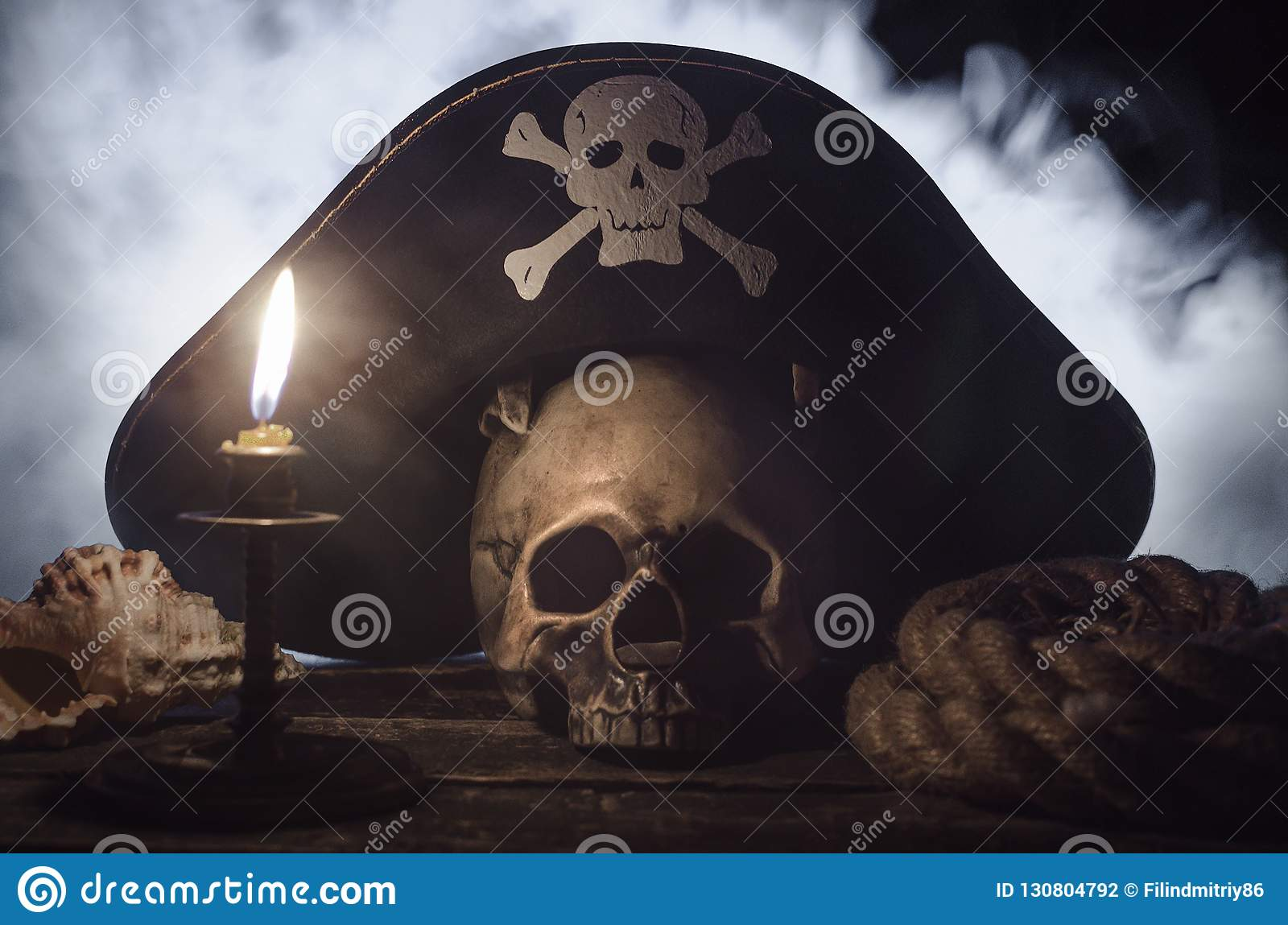 Pirate hat above a human skull.