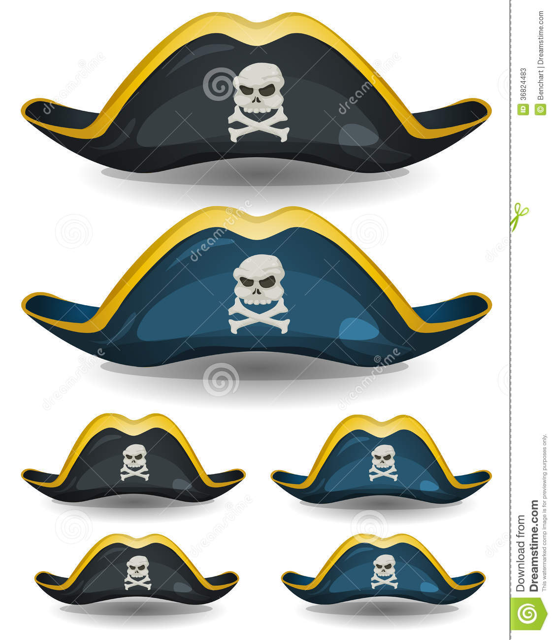 Pirate Hat Set Stock Photos - Image: 36824483