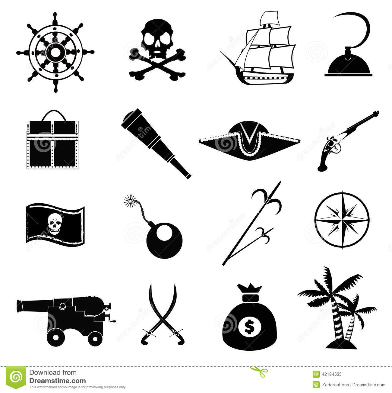 pirate icons set stock vector illustration of compass 42184535