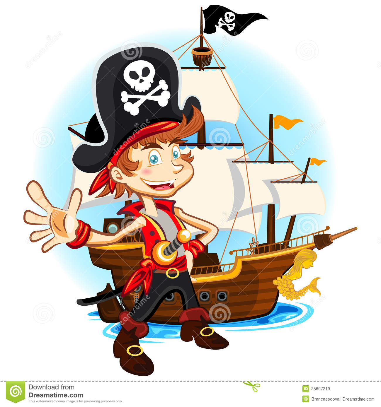 Pirate Kid And His Big War Ship Royalty Free Stock Images ...