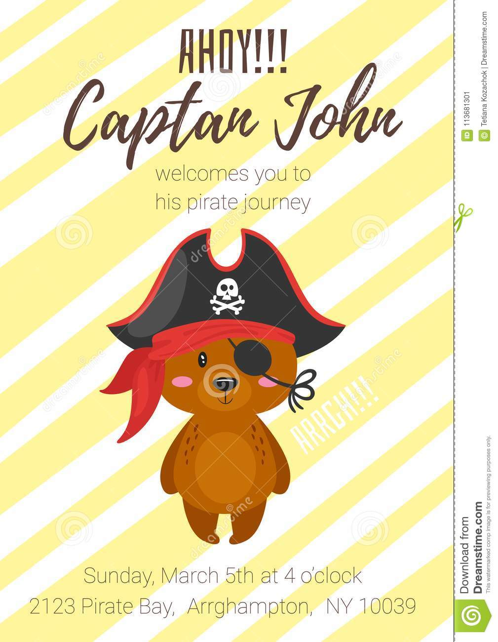 pirate kid party poster template stock vector illustration of