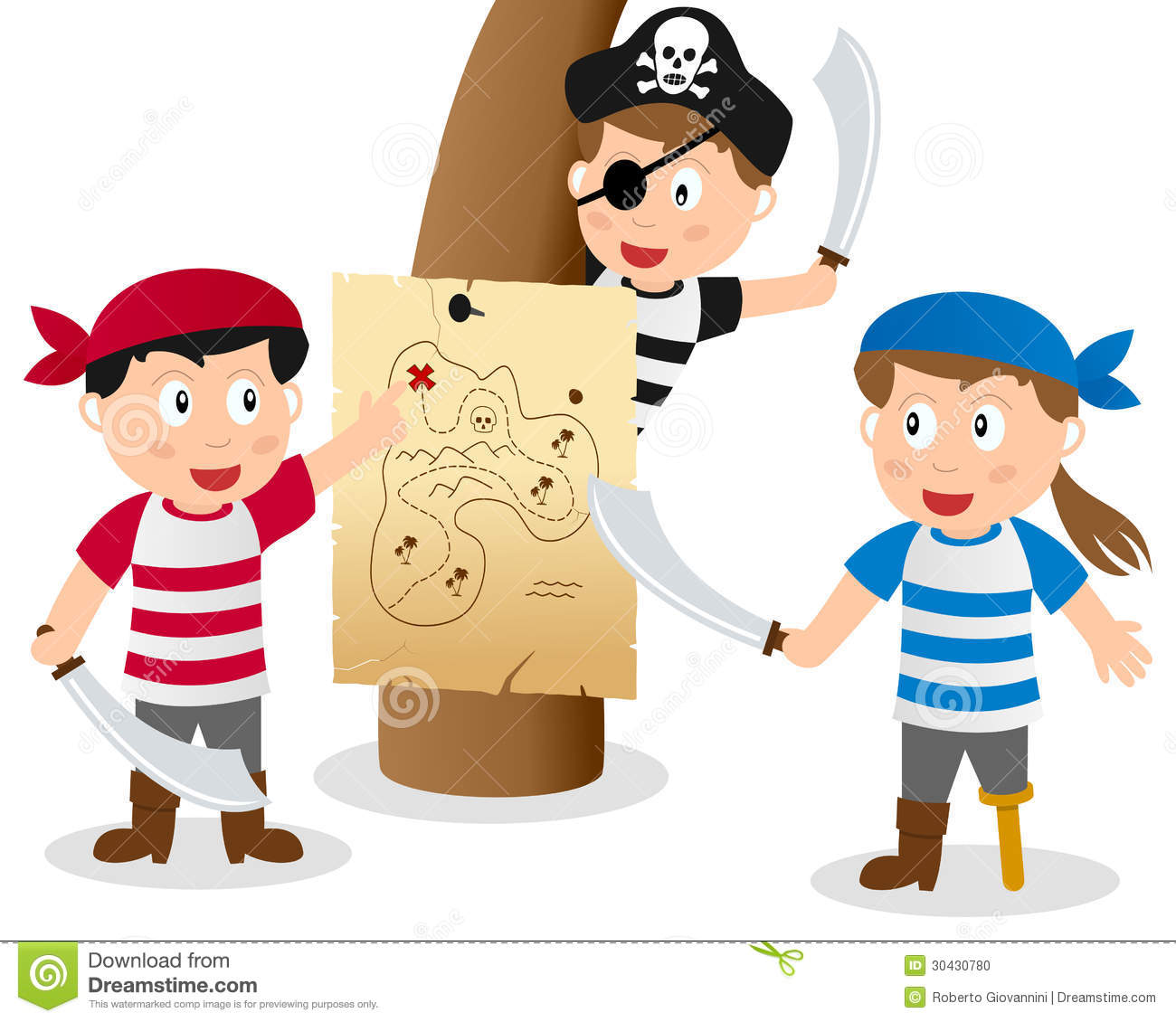 pirate kids looking at map stock photo image 30430780