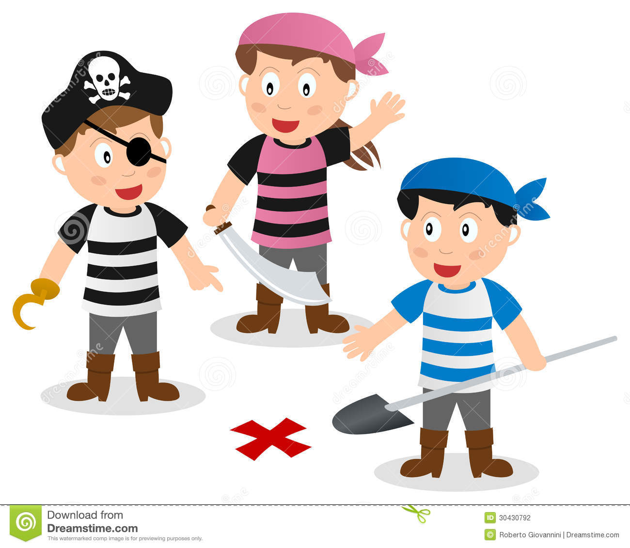 Three cartoon pirate kids searching a treasure with shovel, isolated ...