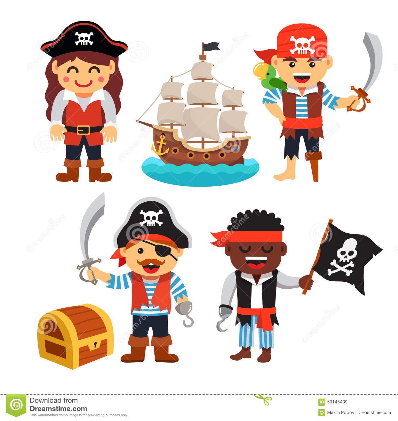 pirate kids set treasure chest black flag ship stock vector