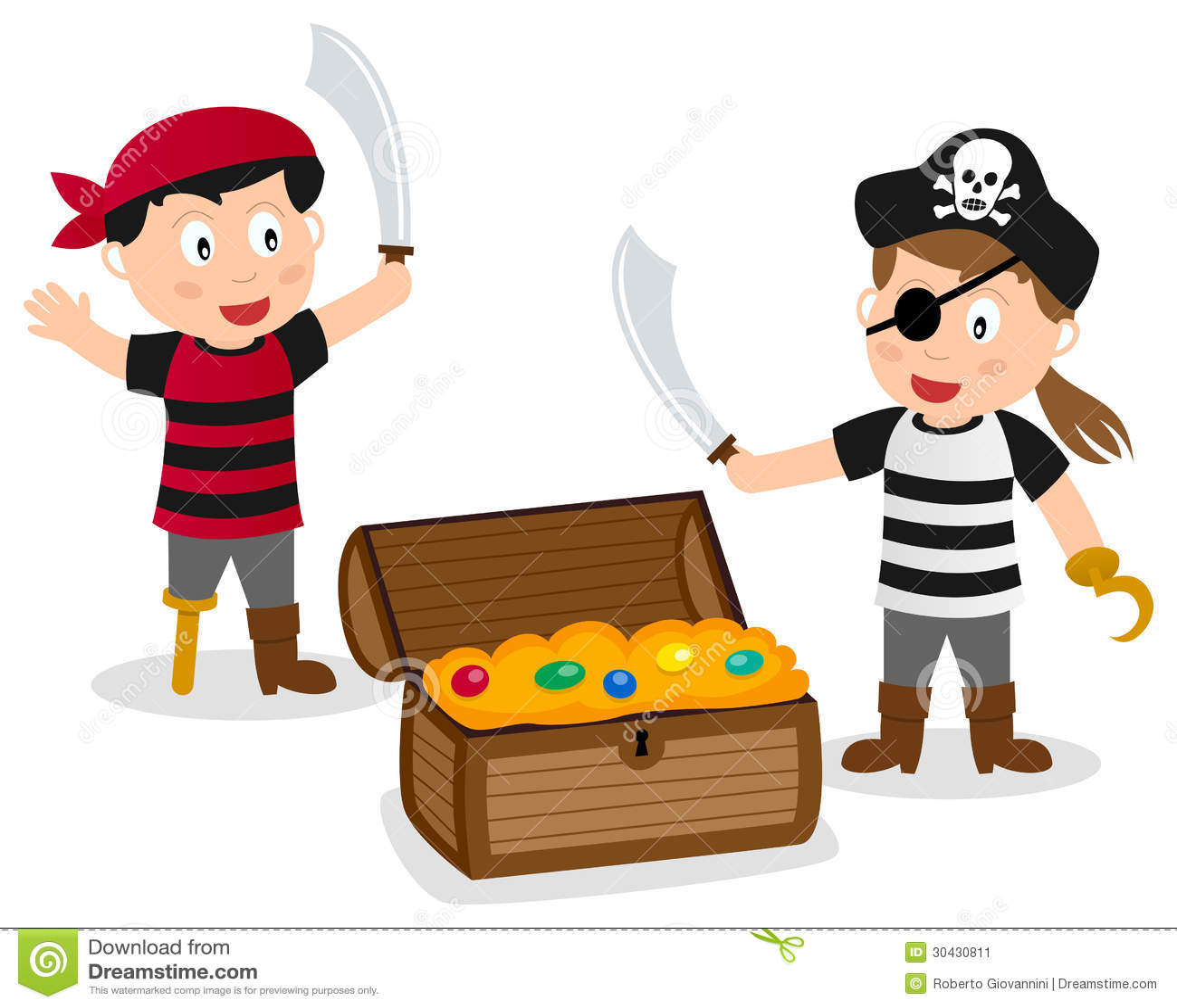 pirate kids with treasure box stock vector illustration