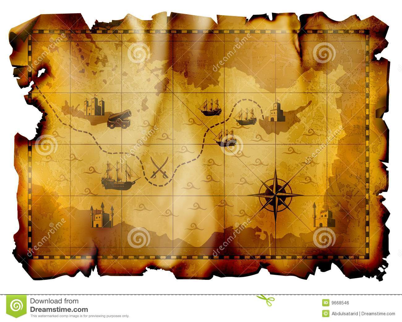 Pirate Map Royalty Free Stock Image - Image: 9668546