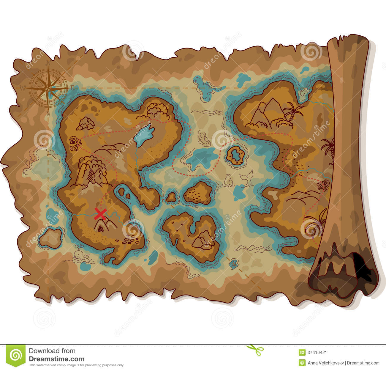Antique Scroll Map: Pirate Map Stock Vector. Illustration Of Antique, Picture