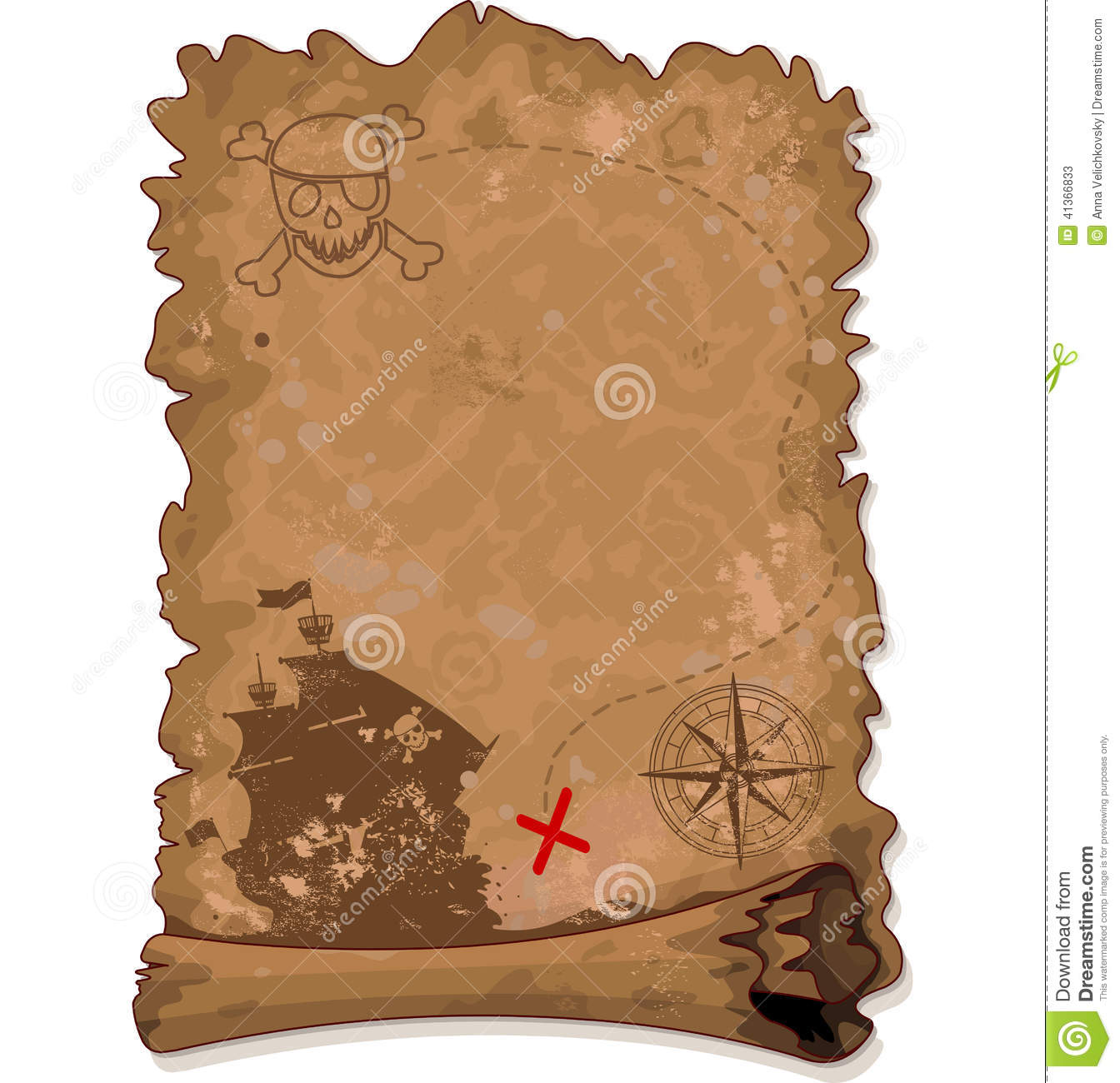 pirate map stock vector  image of paper  cartography