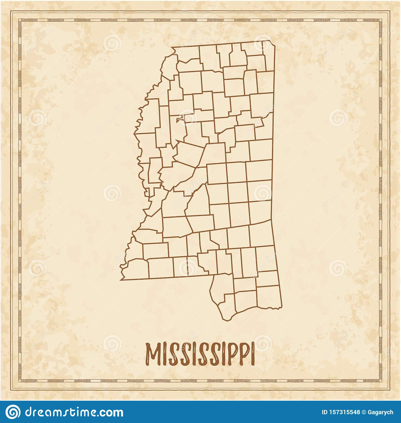 Pirate map of Mississippi. stock vector. Illustration of ...