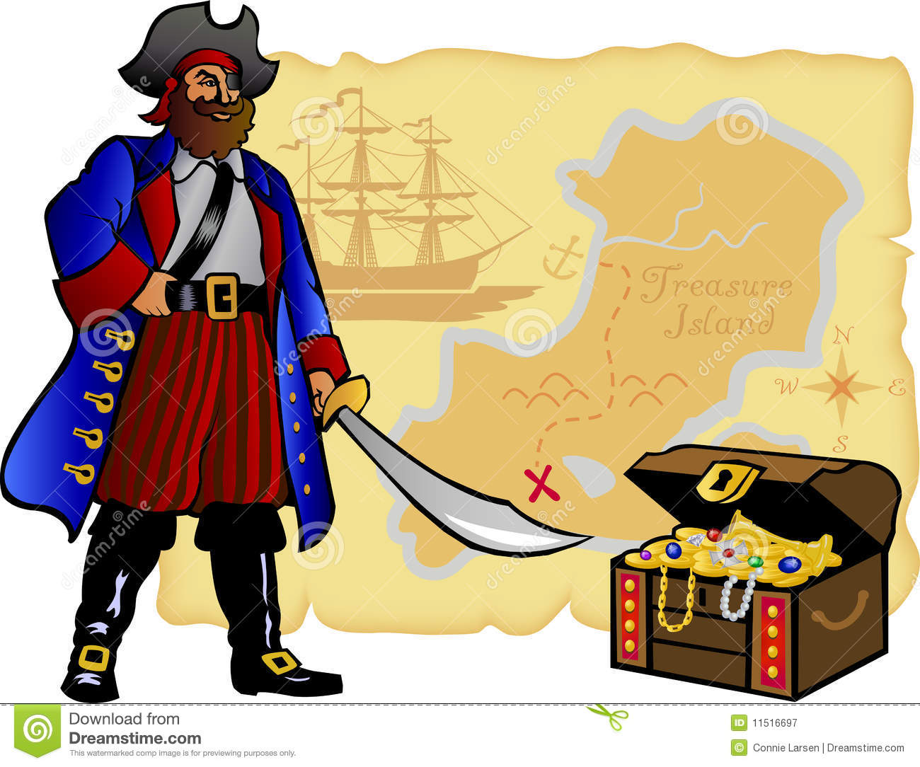 pirate map and treasure chest eps royalty free stock photography