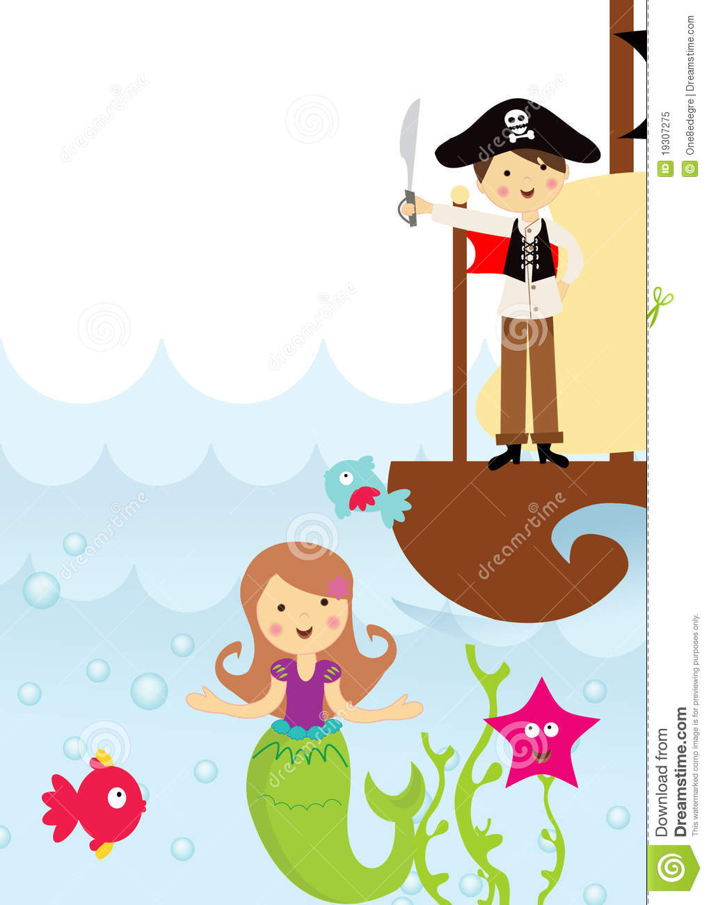 Cute pirate and mermaid in the sea with a sea pirate ship and swimming ...