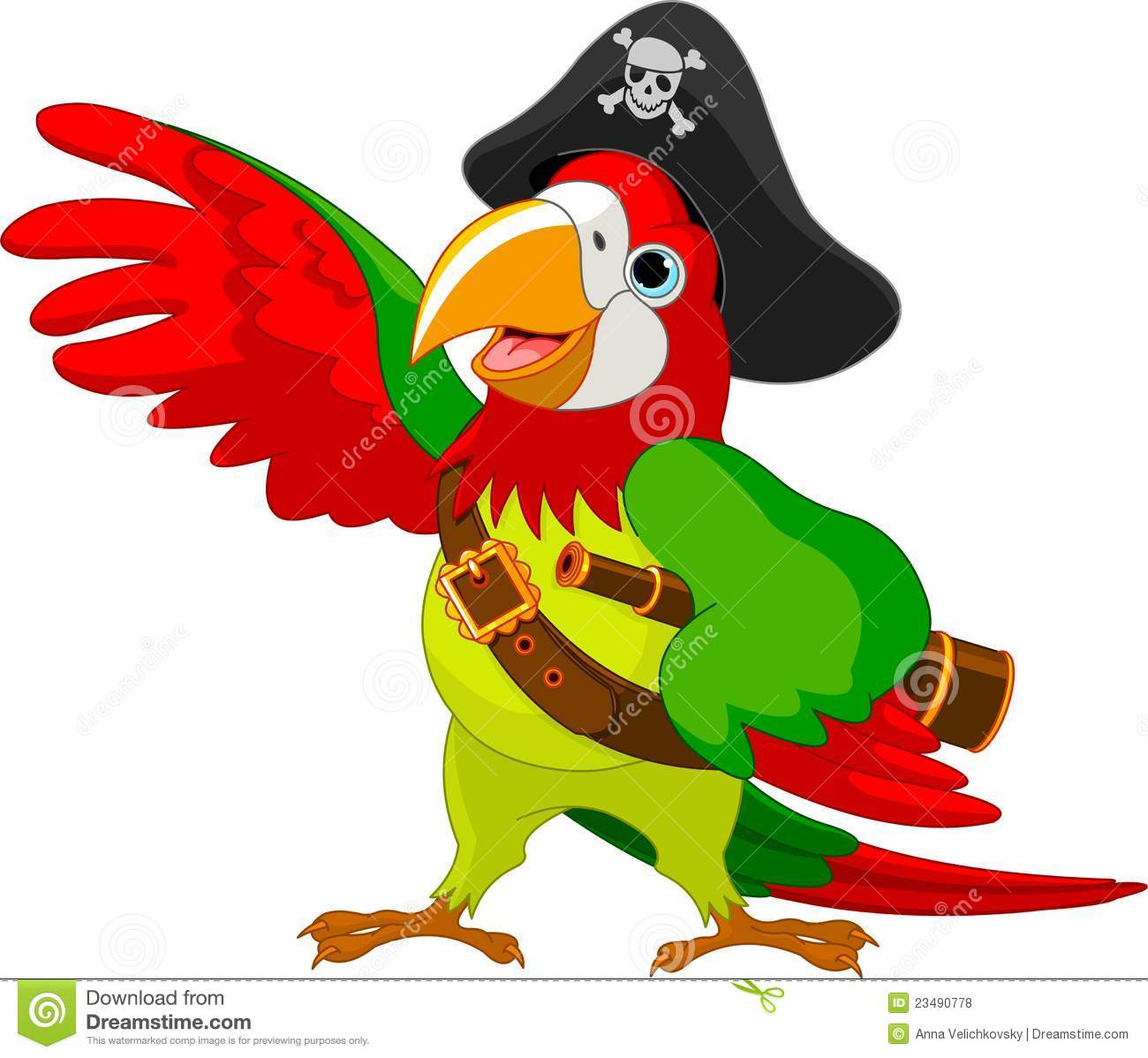 Pirate Parrot Royalty Free Stock Photos - Image: 23490778
