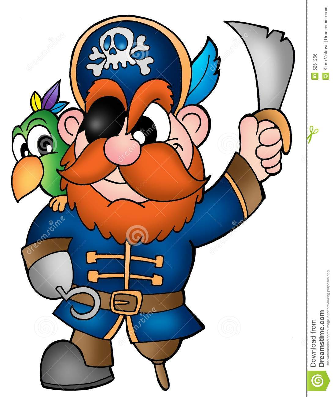 Pirate With Parrot Royalty Free Stock Image - Image: 5261266