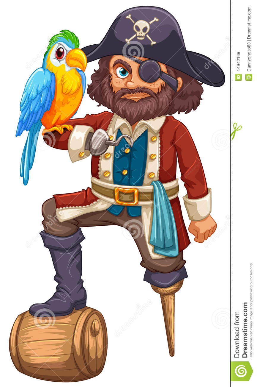 Pirate And Parrot Stock Vector Illustration Of Patch 44942168
