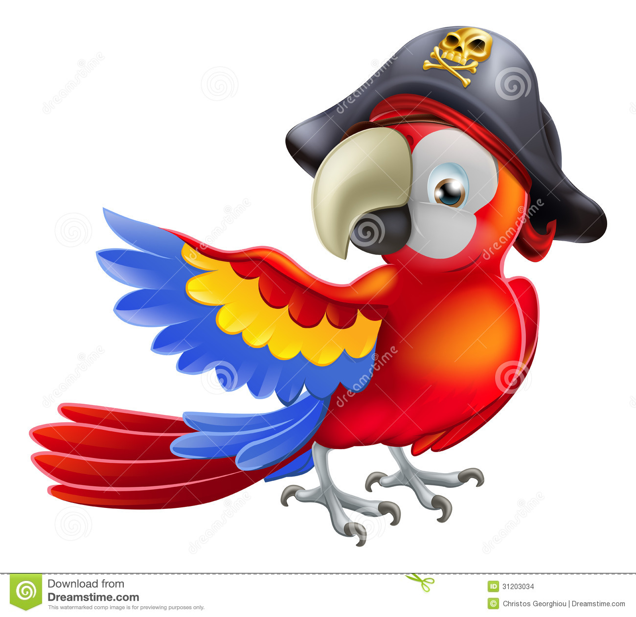 red parrot cartoon wearing a pirates hat and eye patch and pointing ...